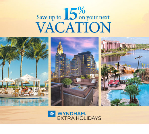 Wyndham Extra Holidays -  Up to 15% off best available rate!